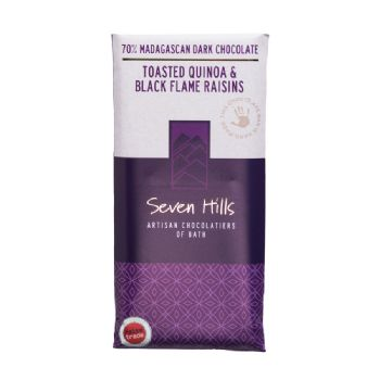 70% Madagascan Dark Chocolate with Toasted Quinoa & Black Flame Raisins